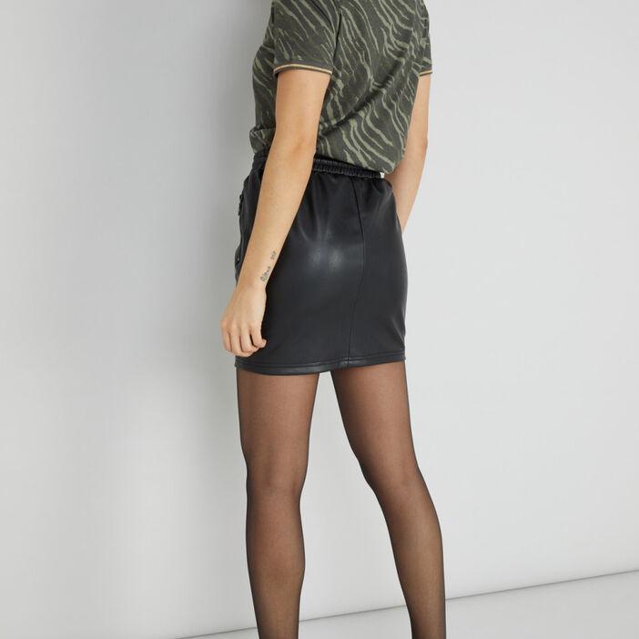 Mini-jupe droite similicuir femme noir