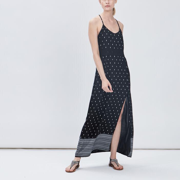 Robe longue droite à bretelles femme noir