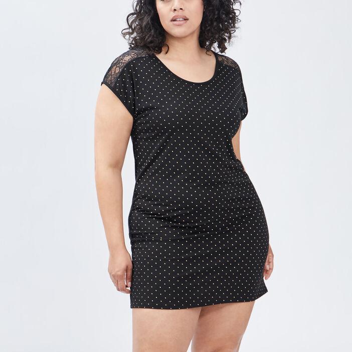 Chemise de nuit grande taille femme grande taille noir