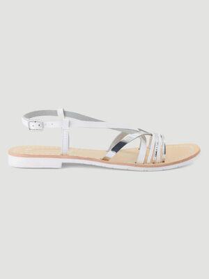 Sandales en cuir blanc femme