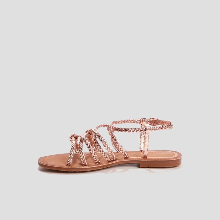 Sandales à brides tressées femme rose