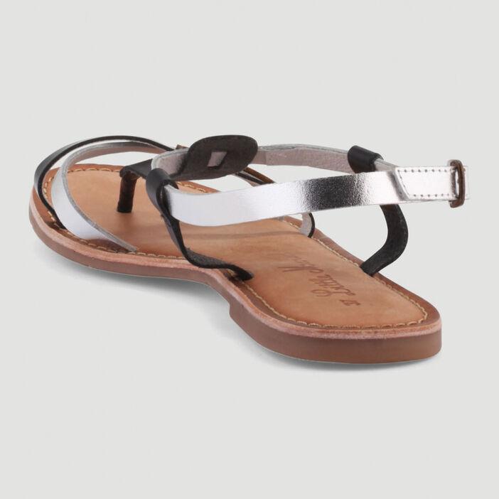 Sandales entredoigts cuir Little Marcel femme noir