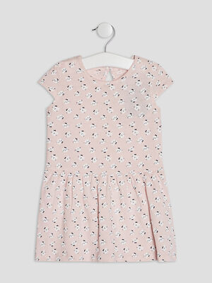 Robe evasee a manches courtes rose clair bebef