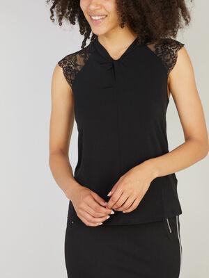 T shirt dentelle sur lepaule noir femme