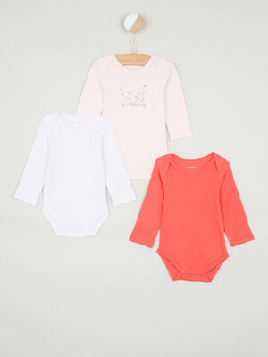 Lot 3 bodies en coton rose clair bebe