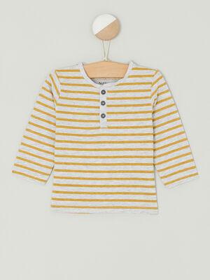 T shirt col tunisien 2 boutons jaune garcon