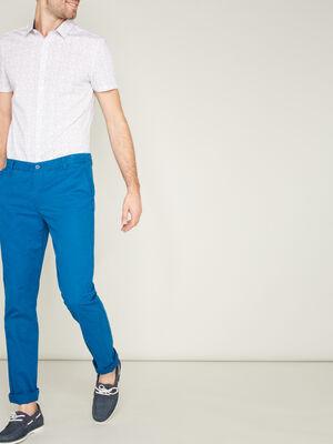 Pantalon droit uni bleu ptrole homme