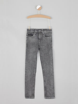 Jean 5 poches coupe skinny gris clair garcon