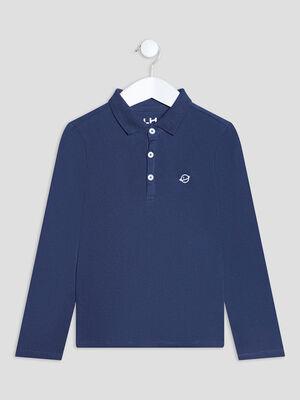 Polo manches longues bleu marine garcon