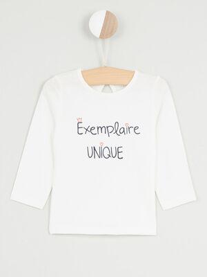T shirt manches longues avec imprime ecru fille