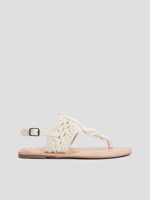 Sandales aspect crochet blanc femme