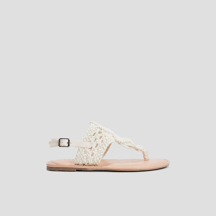 Sandales aspect crochet femme blanc