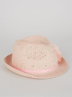 Chapeau a ruban et fleur rose clair fille