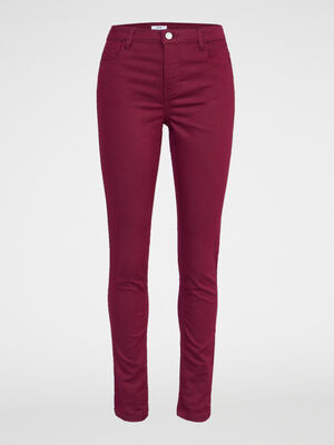 Pantalon slim uni prune femme