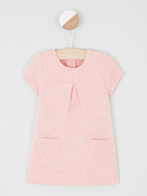 Robe trapeze a manches courtes rose fille