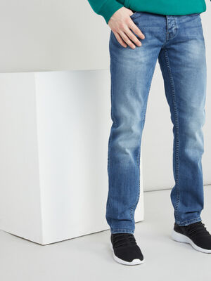 Jean droit denim effet use denim double stone homme