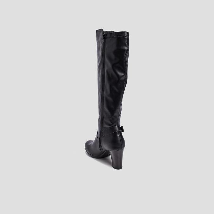 Bottes zippées à boucle femme noir