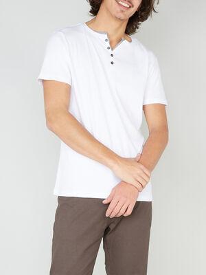 T shirt col tunisien en coton blanc homme