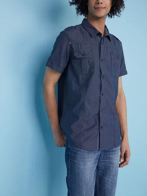 Chemise droite coton a poches bleu homme