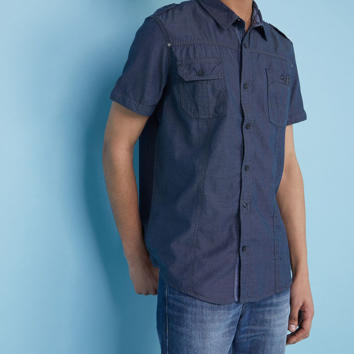 Chemise droite coton à poches homme bleu