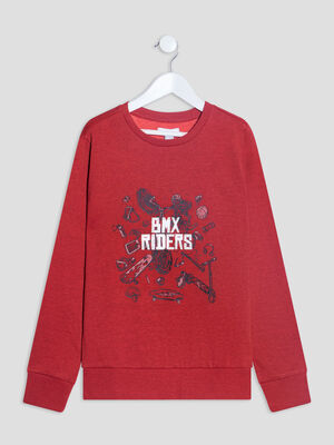 Sweat manches longues rouge garcon