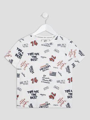 T shirt manches courtes Creeks ecru garcon