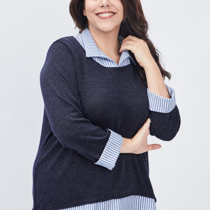 Pull 2-en-1 grande taille femme bleu marine