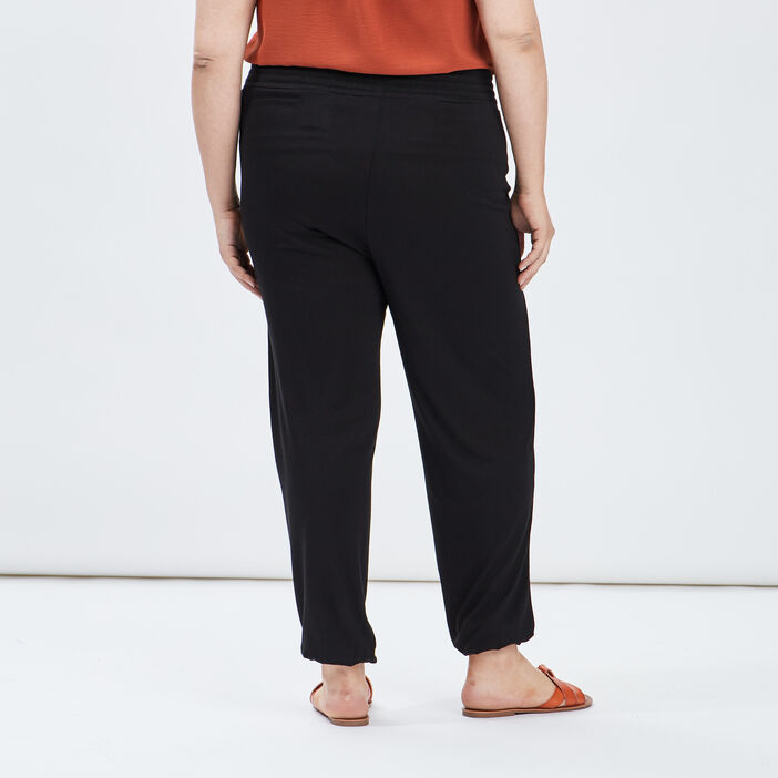 Pantalon sarouel droit femme grande taille noir