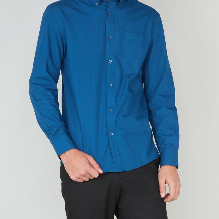 Chemise manches longues homme bleu canard