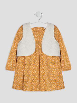 Robe evasee avec gilet jaune moutarde bebef