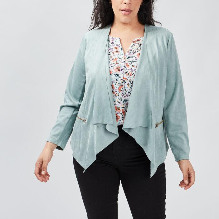 Veste ample grande taille femme grande taille vert turquoise