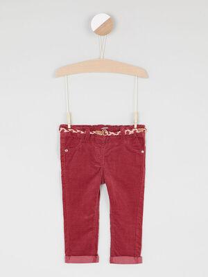 Pantalon velours coupe slim prune fille