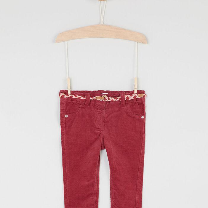 Pantalon velours coupe slim fille prune