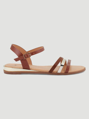 Sandales plates brides multi texturees marron femme