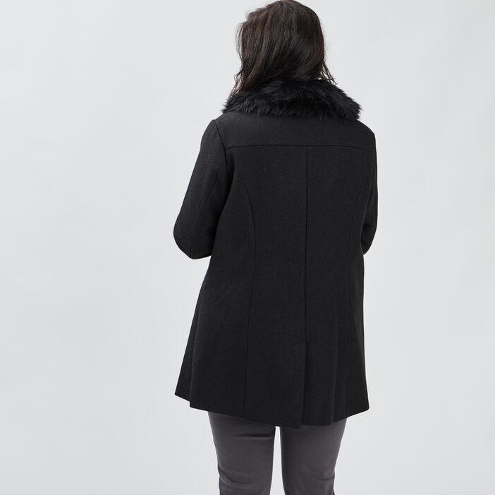 Manteau évasé Modavista femme grande taille noir