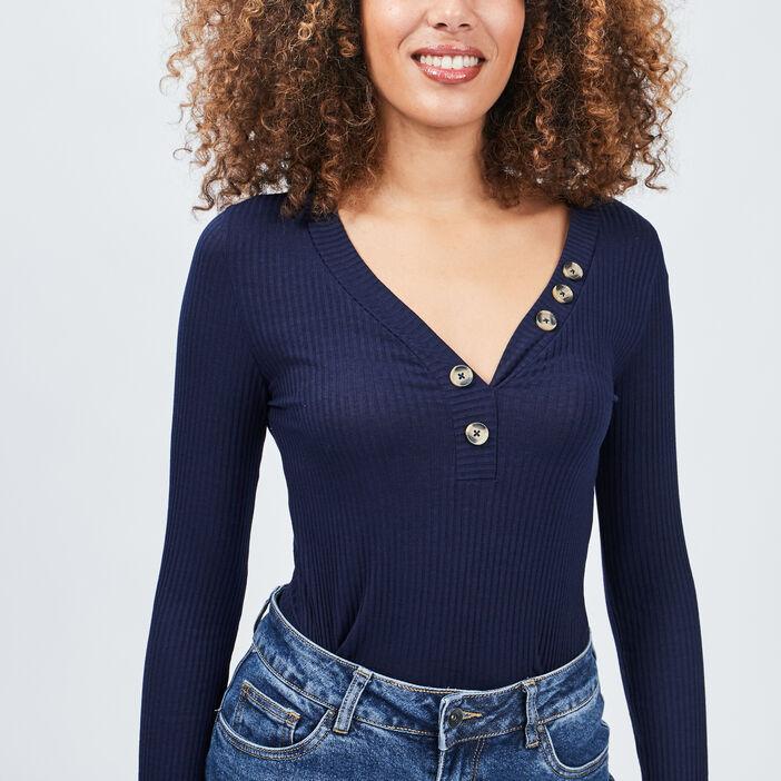 T-shirt manches longues côtelé femme bleu marine
