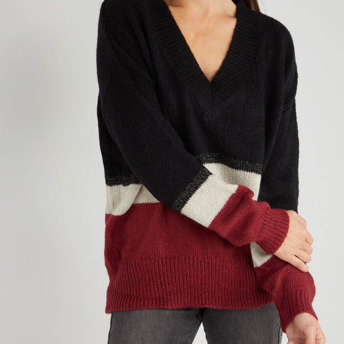 Pull col V à rayures femme multicolore