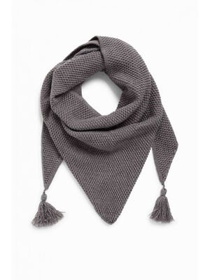 charpe maille chinee a pompons gris mixte