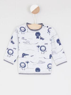 Sweatshirt imprime pressions a lepaule ecru garcon