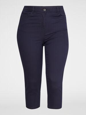 Pantacourt droit uni 5 poches bleu marine femme