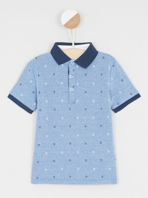 Polo manches courtes bleu garcon