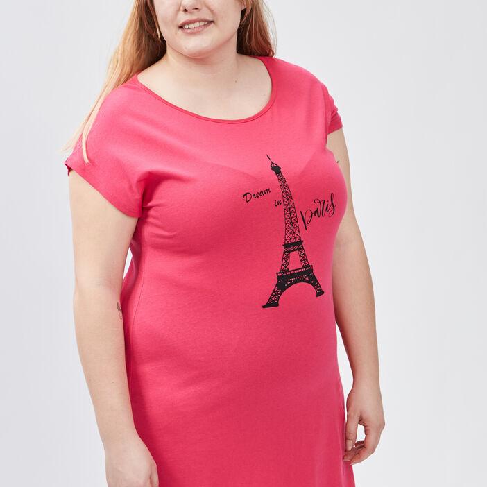 Chemise de nuit grande taille femme grande taille rose fushia