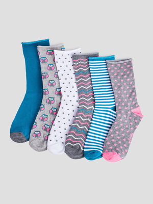 Lot 6 paires chaussettes bleu turquoise fille