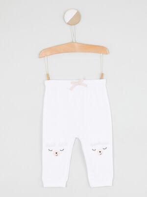 Pantalon broderies et details 3D ecru fille