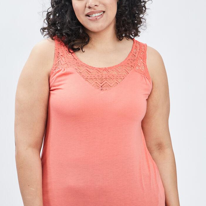 Débardeur bretelles larges femme grande taille orange corail