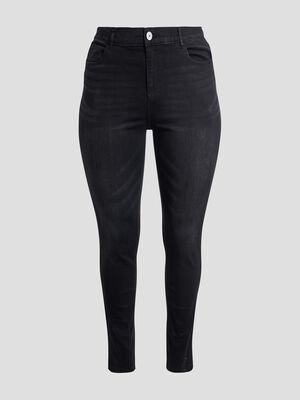 Jeans slim taille ajustable denim noir femmegt