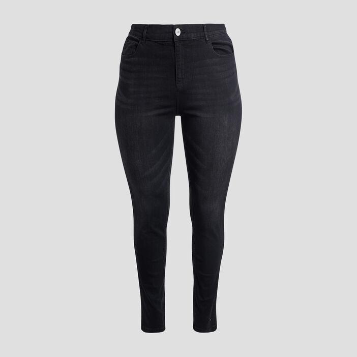 Jeans slim taille ajustable femme grande taille denim noir