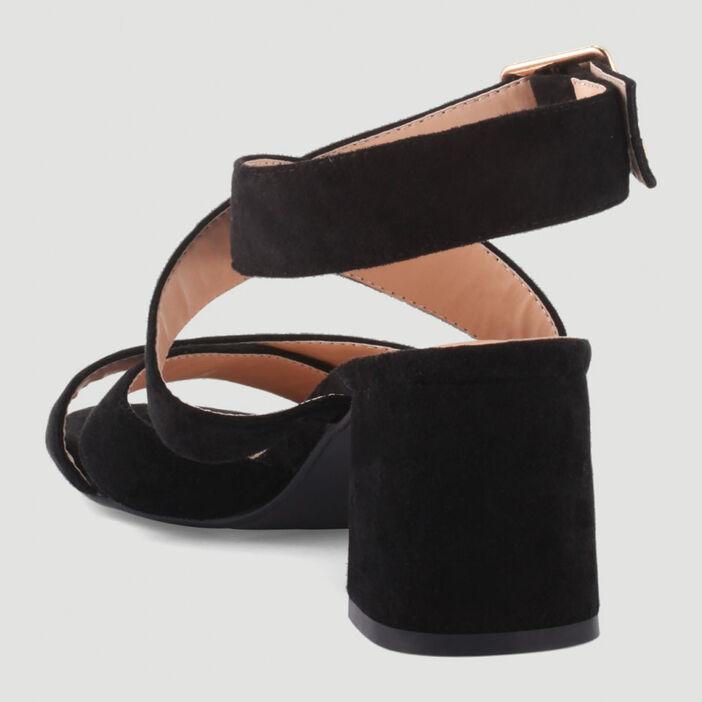 Sandales à brides croisées femme noir