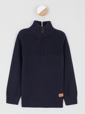 Pull col montant zippe coton bleu marine garcon