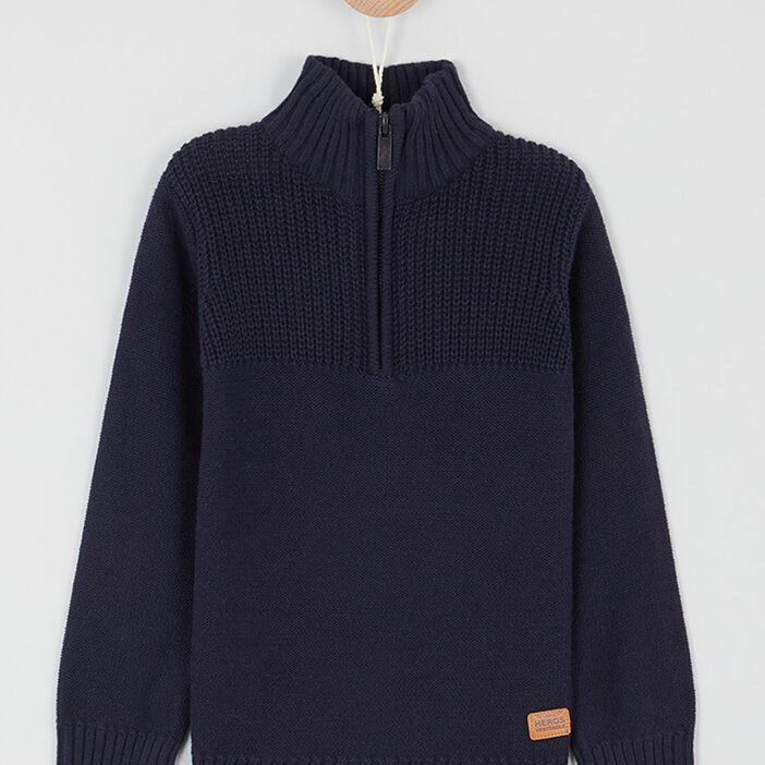 Pull col montant zippé coton garçon bleu marine